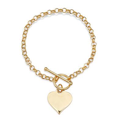14K Gold Over Sterling Silver Heart Toggle Link Bracelet