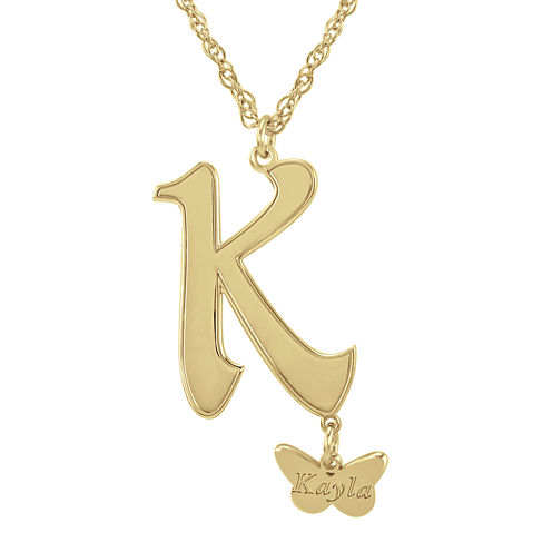 Personalized Butterfly Initial 14K Gold Over Silver Pendant Necklace