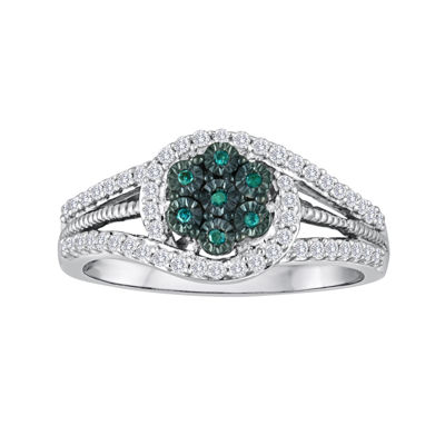 diamond blossom 1/3 CT. T.W. White and Color-Enhanced Blue Diamond Sterling Silver Ring