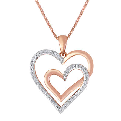 ForeverMine® 1/10 CT. T.W. Diamond Two-Tone Double Heart Pendant Necklace