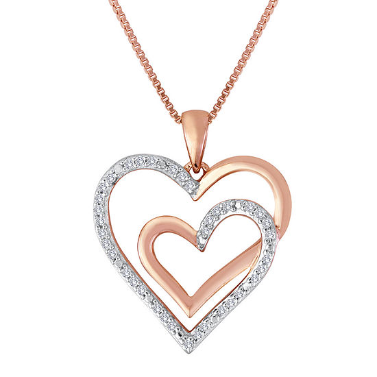 Forevermine 1 10 Ct Tw Diamond Two Tone Double Heart Pendant Necklace