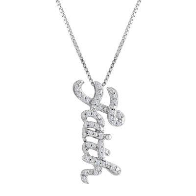 1/10 CT. T.W. Diamond Sterling Silver Faith Pendant Necklace
