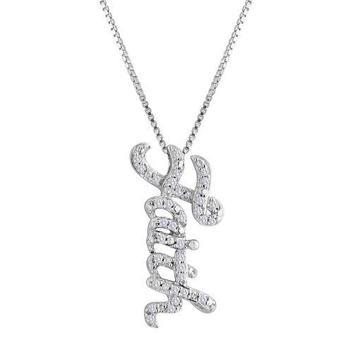 1/10 CT. T.W. Diamond Sterling Silver Faith Pendant Necklace