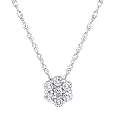 diamond blossom 1/3 CT. T.W. Diamond Sterling Silver Pendant Necklace
