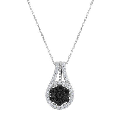 diamond blossom 1/3 CT. T.W. Color-Enhanced Black Diamond Pendant Necklace