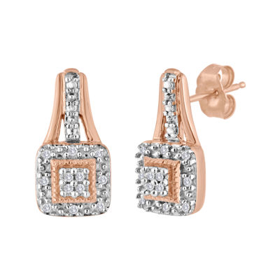 1/10 CT. T.W. Diamond 14K Rose Gold Over Sterling Silver Earrings