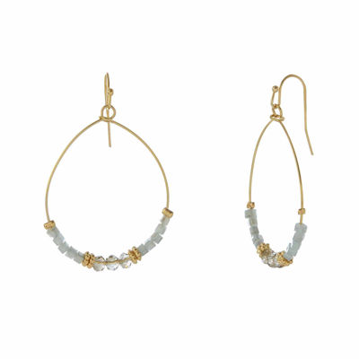 Natasha Blue Gold-Tone Oval Hoop Drop Earrings