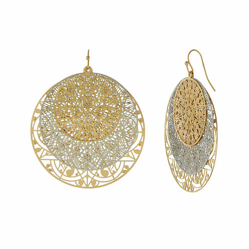 Natasha Gold-Tone Filigree Disc Earrings