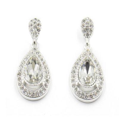 Vieste® Silver-Tone Crystal Pave Teardrop Earrings