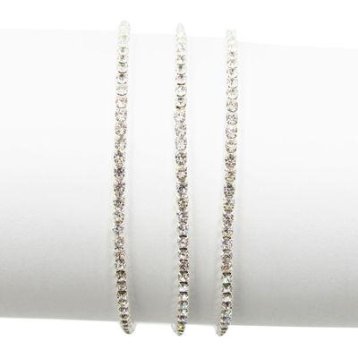 Vieste® Silver-Tone 3-pc. Crystal Stretch Bracelets