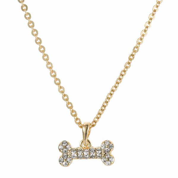 Pet Friends Crystal Gold-Tone Bone Pendant Necklace