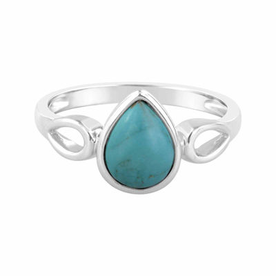 Stabilized Turquoise Sterling Silver Pear Shaped Ring