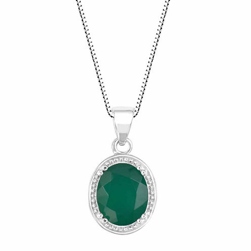 Green Onyx Sterling Silver Oval Shaped Pendant Necklace