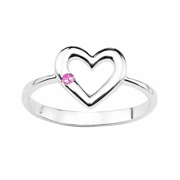 Lab-Created Pink Sapphire Sterling Silver Heart Ring