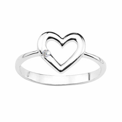 Lab-Created White Sapphire Sterling Silver Heart Ring
