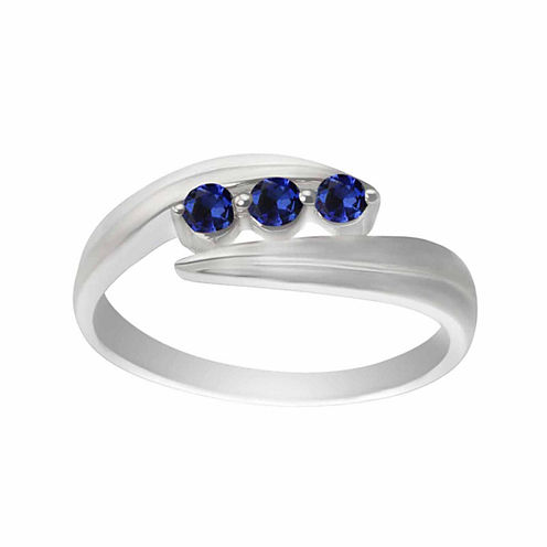 Lab-Created Blue Sapphire Sterling Silver Three Stone Ring