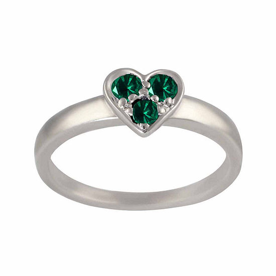 Lab-Created Emerald Sterling Silver Heart Ring