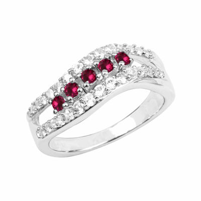 Lab-Created Ruby And Lab-Created White Sapphire Sterling Silver Ring