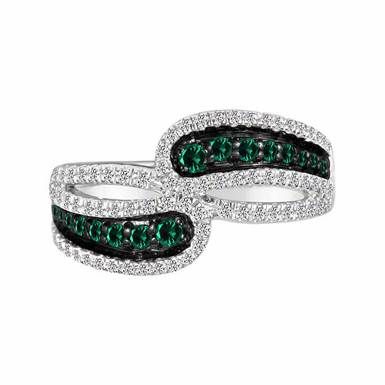 Lab-Created Emerald And Lab-Created White Sapphire Sterling Silver Ring Lab-Created Emerald And Lab-Created White Sapphire Sterling Silver Ring