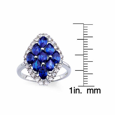 Lab-Created Blue Sapphire And Lab-Created White Sapphire Sterling Silver Ring