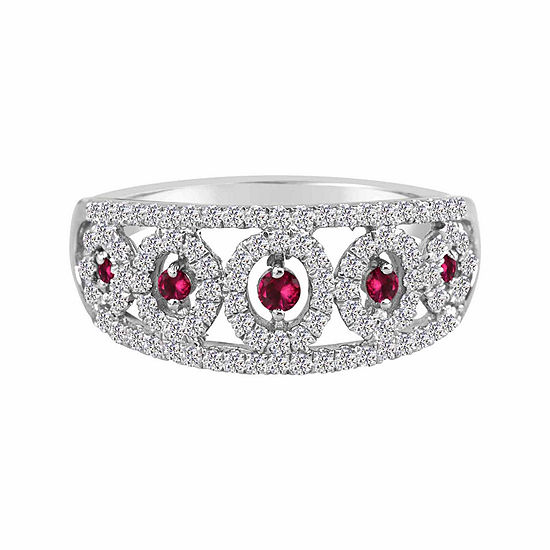 Lab Created Ruby And Lab Created White Sapphire Sterling Silver Ring
