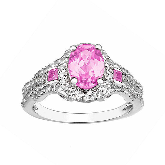 Created Pink Sapphire And Created White Sapphire Sterling Silver Ring