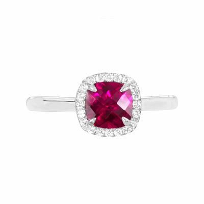 Lab-Created Ruby Sterling Silver Cushion Halo Ring
