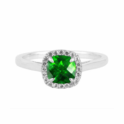Lab-Created Emerald Sterling Silver Cushion Halo Ring