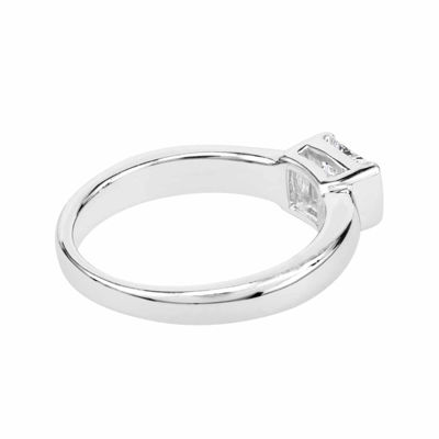 Square Lab-Created White Sapphire Sterling Silver Ring