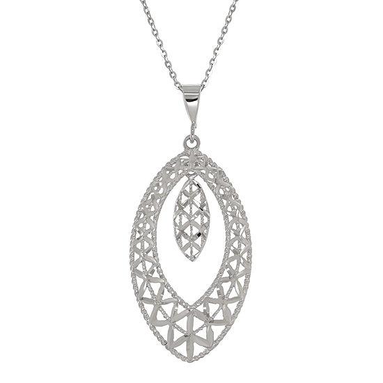 10k White Gold Double Marquis Pendant Necklace