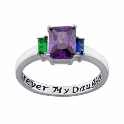 "Personalized Sterling Silver ""Forever My Daughter"" Birthstone 3-Stone Ring"
