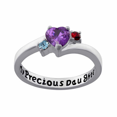 """Personalized Sterling Silver """"My Precious Daughter"""" Birthstone 3-Stone Ring"""