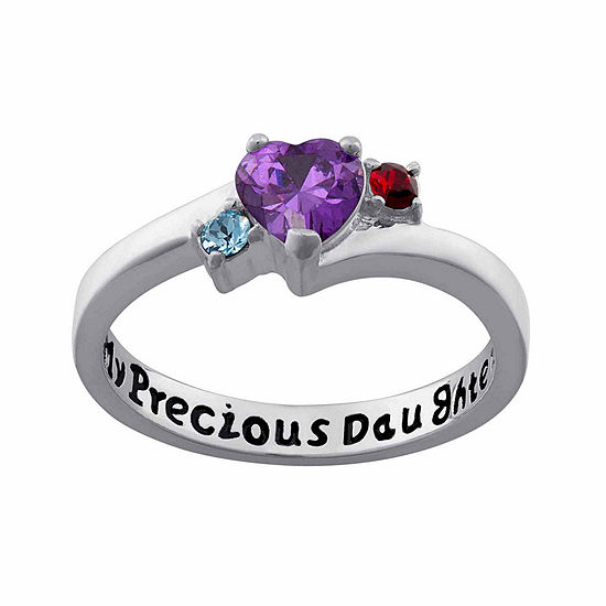 Personalized Sterling Silver My Precious Daughter Birthstone 3 Stone Ring