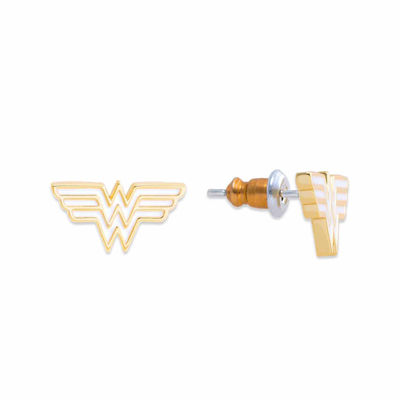 DC Comics® Wonder Woman Yellow Brass Crystal StudEarrings