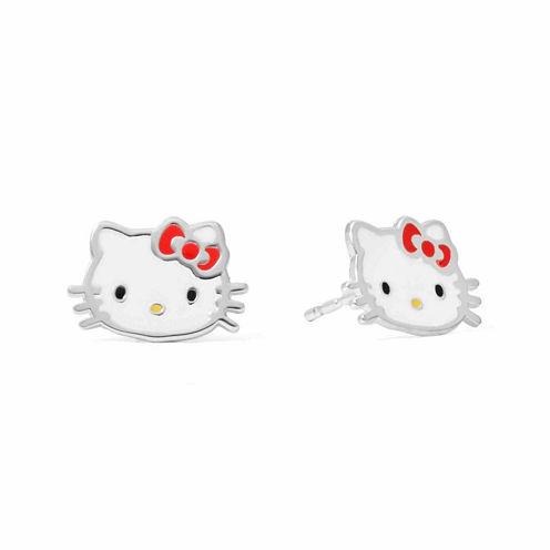Hello Kitty® Sterling Silver Bow Head Stud Earrings