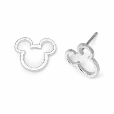 Disney Mickey Outline Sterling Silver Stud Earrings
