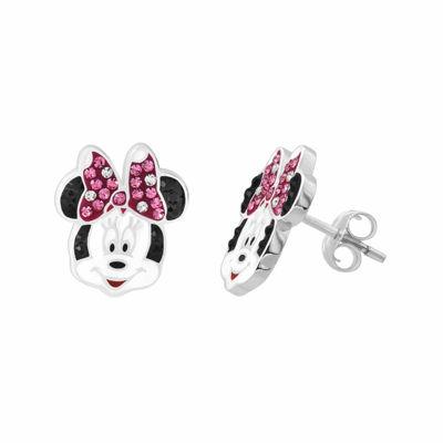 Disney Minnie Sterling Silver Crystal Stud Earrings