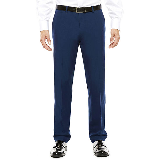 Mens Jf J Ferrar Blue Stretch Flat Front Super Slim Fit Suit Pants