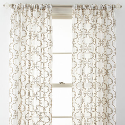 Royal Velvet® Lillian Embroidered Sheer Rod-Pocket Curtain Panel