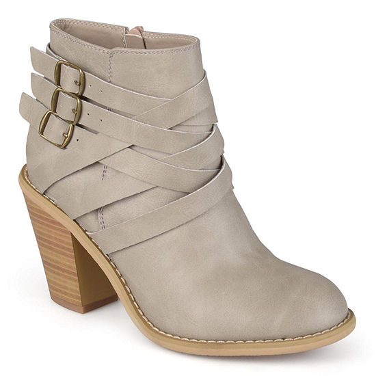Journee Collection Womens Strap Booties Stacked Heel Zip