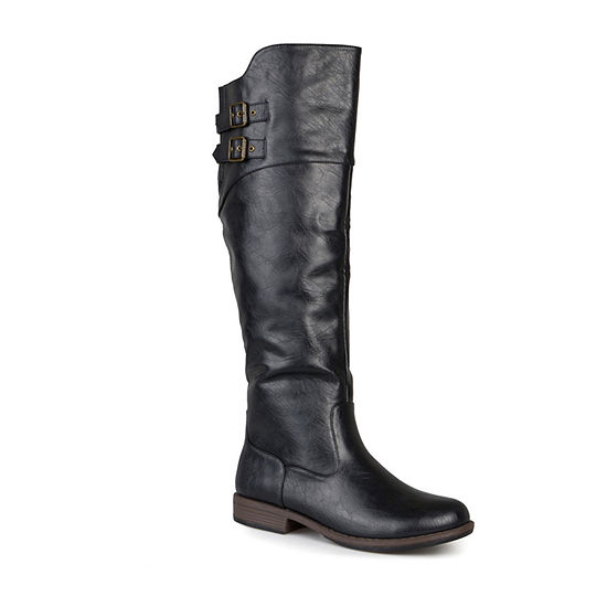 Journee Collection Womens Tori Double-Buckle Knee-High Riding Boots