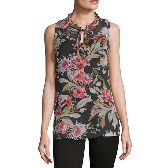 Liz Claiborne Sleeveless Ruffle Neck Top - Tall