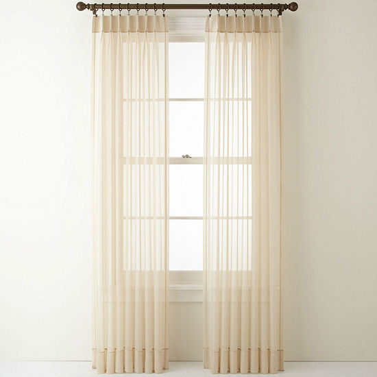 Home Expressions Lisette Pinch-Pleat Set of 2 Sheer Curtain Panel