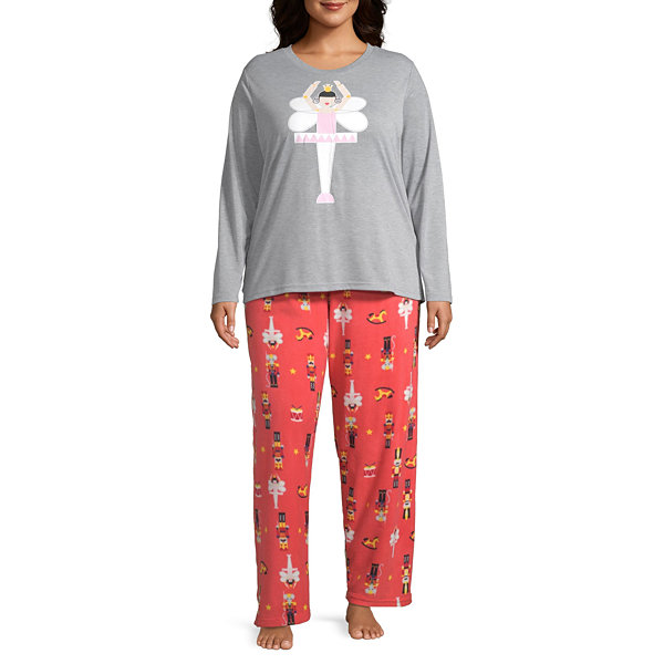 Secret Santa The Nutcracker Family Womens-Plus Pant Pajama Set 2-pc. Long Sleeve