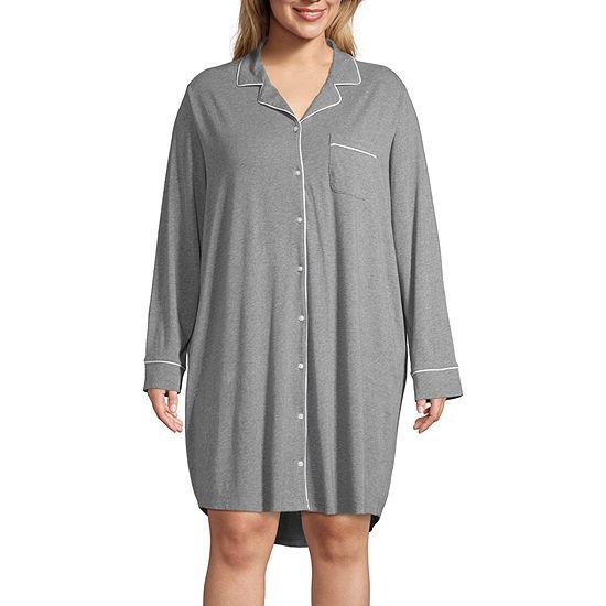 Liz Claiborne Womens-Plus Nightshirt Long Sleeve