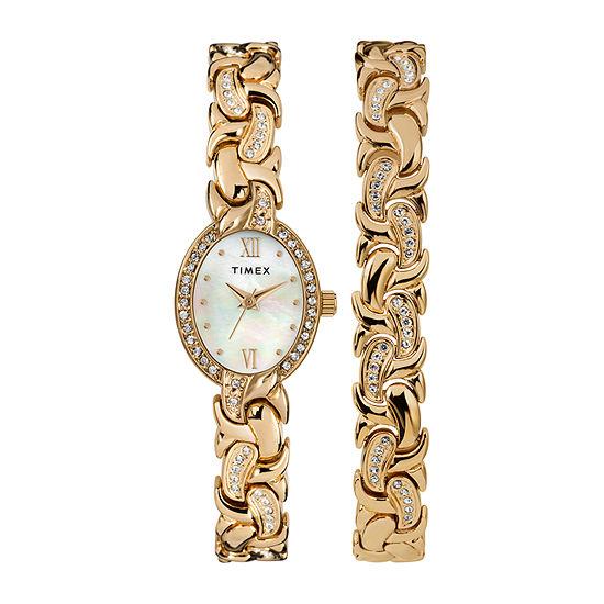 Timex Womens Gold Tone Bracelet Watch-Tw2t49900ji