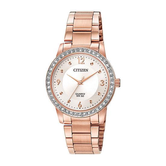 Citizen Quartz Womens Rose Goldtone Stainless Steel Bracelet Watch - El3093-83a
