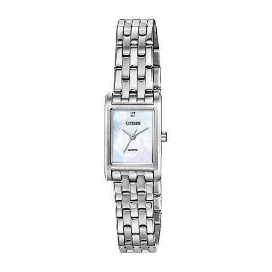 Citizen Quartz Womens Crystal Accent Silver Tone Stainless Steel Bracelet Watch-Ej6121-51d