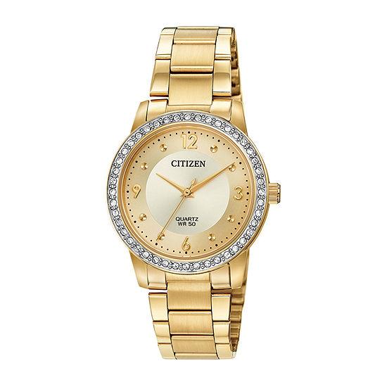 Citizen Quartz Womens Gold Tone Stainless Steel Bracelet Watch-El3092-86p