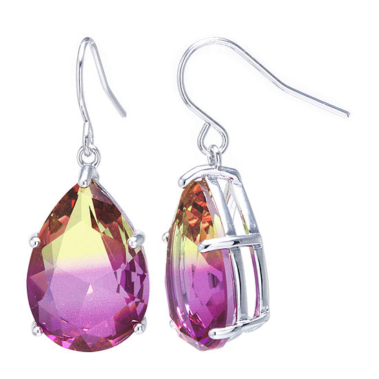 Sparkle Allure Pure Silver Over Brass Pink Glass Pear Drop Earrings